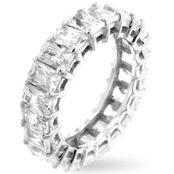 emerald cut eternity wedding ring