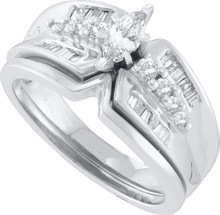 CT Diamond Marquise CTR Wedding Ring Set 14K White Gold