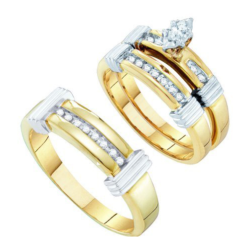 022CT CTR Marques Diamond Trio Wedding Ring Set Yellow Gold