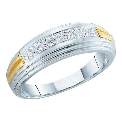 010ct diamond mens wedding ring white gold two tone