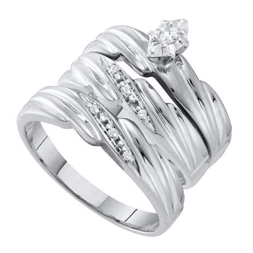 CT CTR Marquise Diamond Trio Wedding Ring Set White Gold