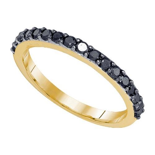 0.50CT Black Diamond Wedding Ring Yellow Gold